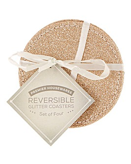Gold Silver Glitter Reversible Coasters
