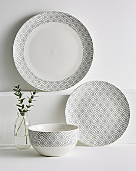 Grey Geo 12 Piece Dinner Set