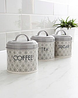 Grey Geo Set of 3 Canisters