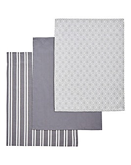 Grey Geo Tea Towels Set of 3