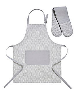 Grey Geo Apron and Oven Glove Set