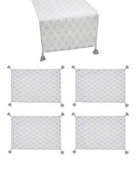 Grey Geo Runner and Set of 4 Placemats