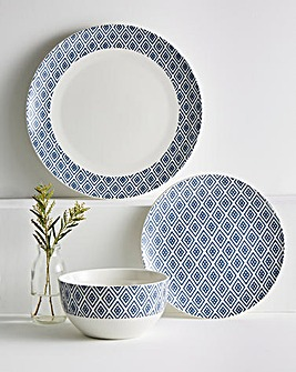 Navy Geo 12 Piece Dinner Set