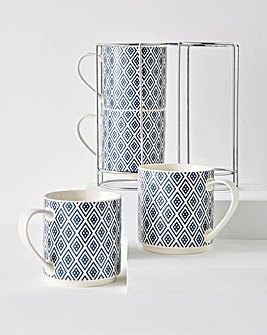 Navy Geo Stacking Mugs