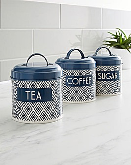 Navy Geo Set of 3 Canisters