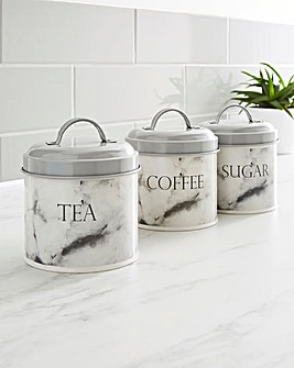 Marble Set of 3 Canisters