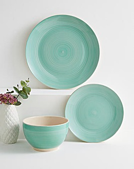 Spinwash Stoneware Dinner Set Aqua