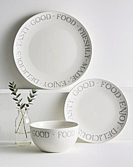 Country Text 12 Piece Dinner Set