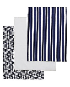 Navy Geo Tea Towels Set of 3