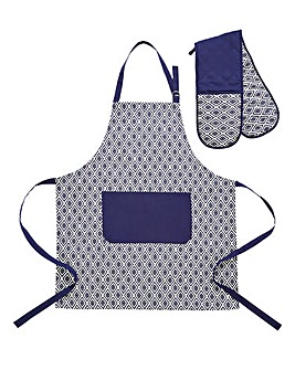 Navy Geo Apron and Oven Glove Set