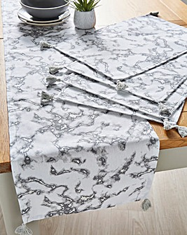 Marble Runner and Set of 4 Placemats