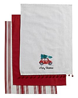 Christmas Car Tea Towels Set
