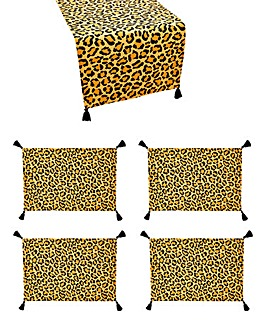 Leopard Runner and Set of 4 Placemats