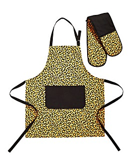 Leopard Apron and Oven Glove Set