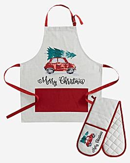 Christmas Car Apron and Oven Glove