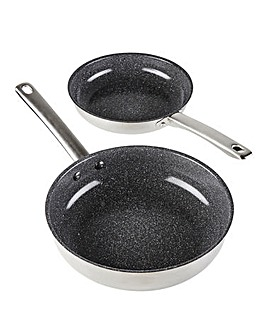 Durastone Set of 2 Stainless Steel Fry Pans