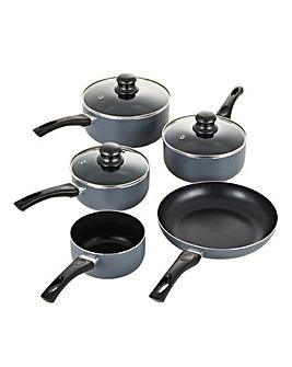 Everyday Non-Stick Grey Aluminium 5 Piece Pan Set