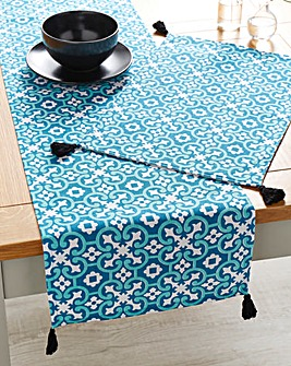 Blue Tile Runner and Set of 4 Placemats