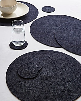 Jute Placemats & Coasters Set Navy