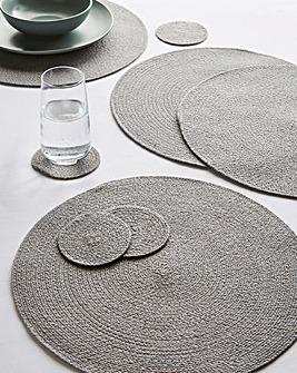 Jute Placemats & Coasters Set Grey