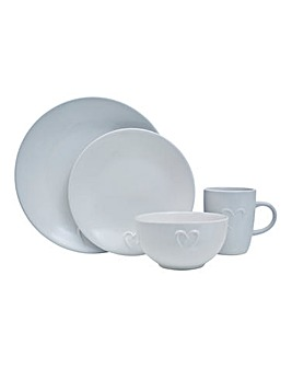 White Embossed Heart 16 Piece Dinner Set