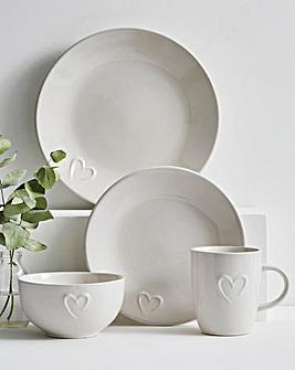 White Embossed Heart 16 Piece Dinner Set