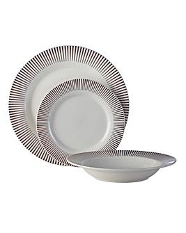 Avie Spoke 12 Piece Porcelain Dinner Set
