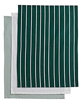 Green Stripe Set of 3 Tea Towels