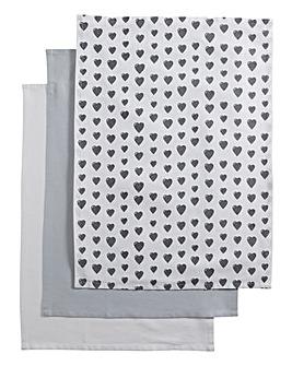 Grey Heart Set of 3 Tea Towels
