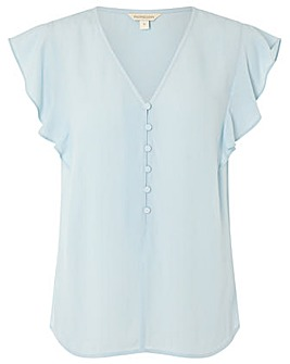 Monsoon Button Front V Neck Ruffle Top