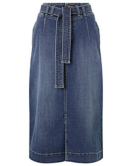 Monsoon STRAIGHT DENIM MIDI SKIRT