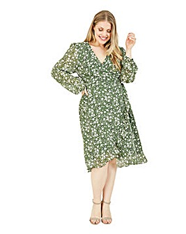 Yumi Curves Green Ditsy Floral Wrap Dress