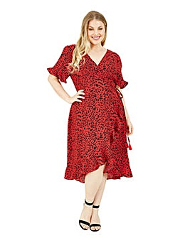 Yumi Curves Animal Print Wrap Dress In Red