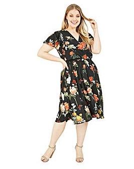 Mela London Curve Floral Wrap Skater Dress In Black