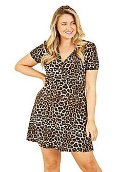 Mela London Curve Brown Leopard Skater Dress