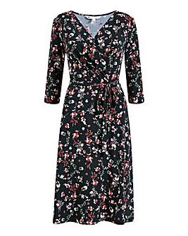 Yumi Curves Black Floral Jersey Wrap Dress