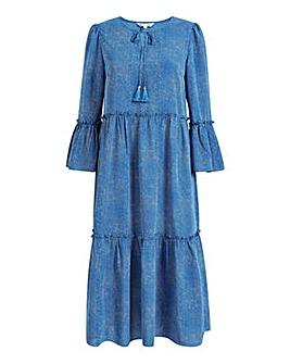 Yumi Curves Polka Dot Smock Dress In Blue