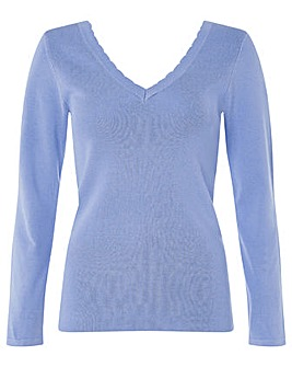 Monsoon Scallop V Neck Trim Jumper