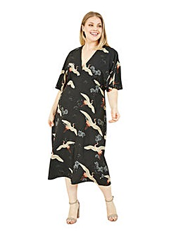 Yumi Curves Black Crane Print Midi Dress