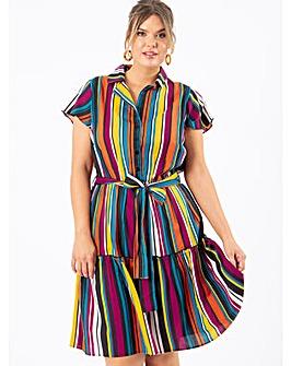 Koko Multicoloured Stripe Shirt Dress