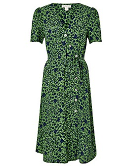 Monsoon Green Printed Short Sleeve Dress