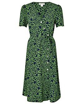 Monsoon Green Printed Short Sleeve Dress