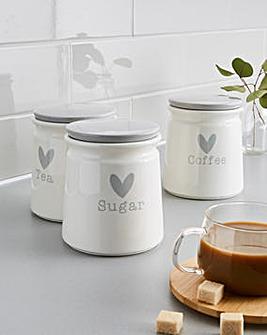 Cosy Heart Tea Coffee Sugar Canisters