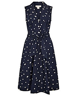 Monsoon MARLEY SPOT PRINT POPLIN DRESS