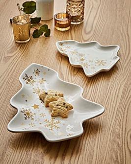 Golden Stars Set of 2 Tree Platters