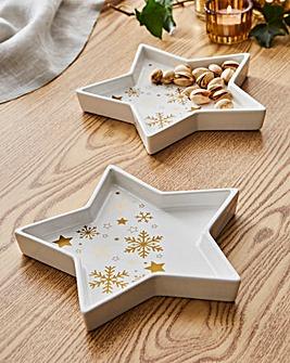 Golden Stars Set of 2 Star Platters