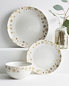 Golden Stars 12 Piece Dinner Set