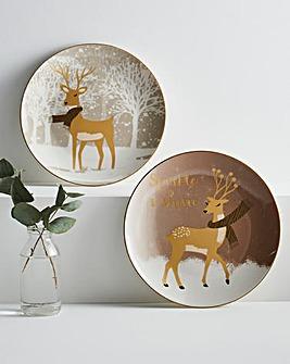 Set of 4 Reindeer Side Plates