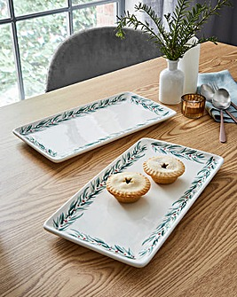 Holly Bright Platter Set of Two