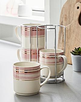 Brushed Glam Set of Four Stacking Mugs